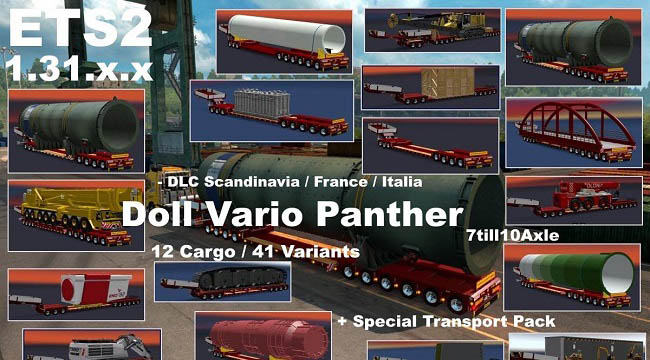 Мод Doll Vario 7-10Axles Pack 12 Cargos v5.4 для ETS 2 (1.31)