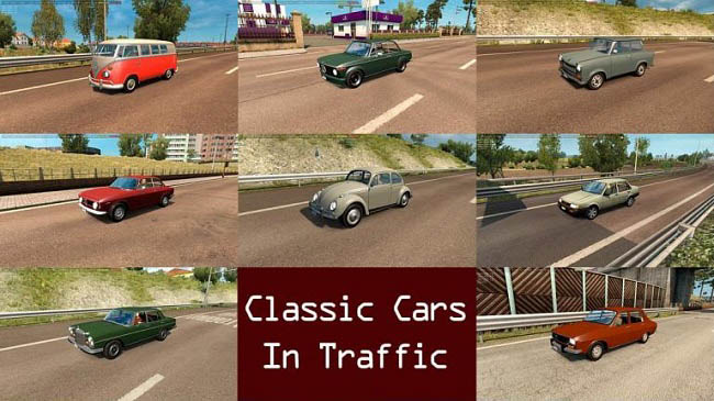 Мод Classic Cars Traffic Pack v3.2 для ETS 2 (1.35.x)