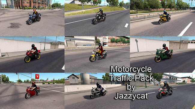 Мод Motorcycle Traffic Pack v3.1 для ATS (1.35.x)