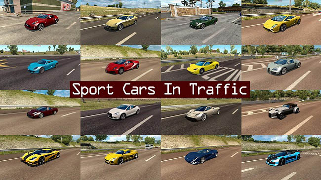 Мод Sport Cars Traffic Pack v4.3 для ETS 2 (1.35.x)