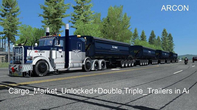 Мод Trailer Unlocked+Double, Triple, Trailers in Trafic v1.0 для ATS (1.32.x)