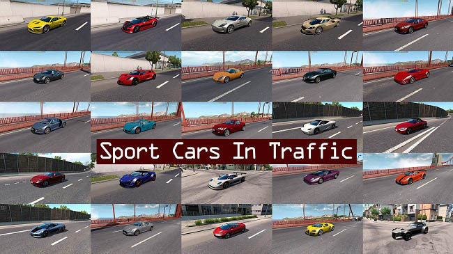 Мод Sport Cars Traffic Pack by TrafficManiac v4.8 для ATS (1.35.x)