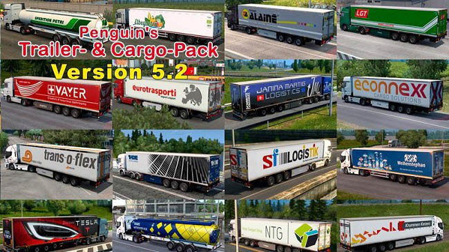 Мод Penguins Trailers and Cargo Pack v5.5 для ETS 2 (1.35.x)