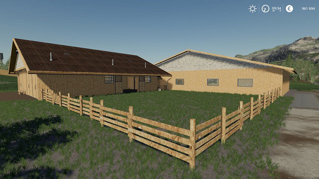 Мод Horse Stable with Riding Hall v1.0 для FS19 (1.3.x)
