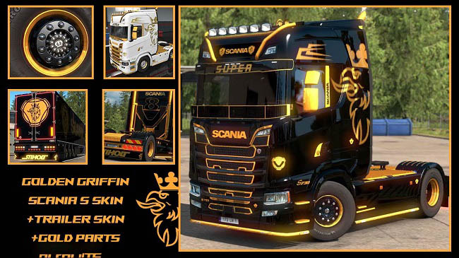 Мод Golden Griffin Scania S parts and Skins v1.0 для ETS 2 (1.34.x)
