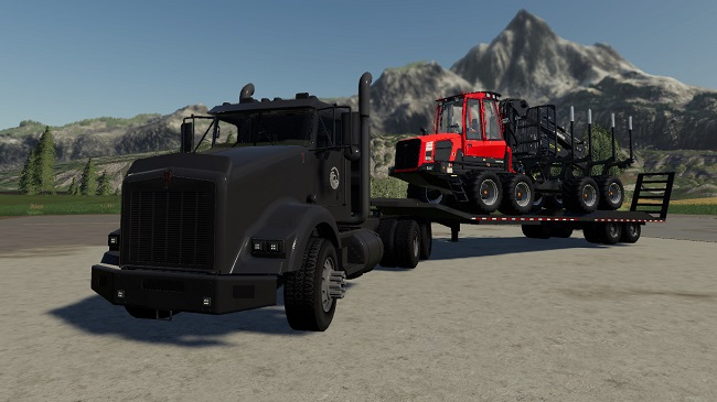 Мод Kenworth T800 + Lowbed Trailer v1.0 для FS19 (1.4.x)